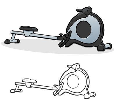 Vector rowing machine cartoon illustration