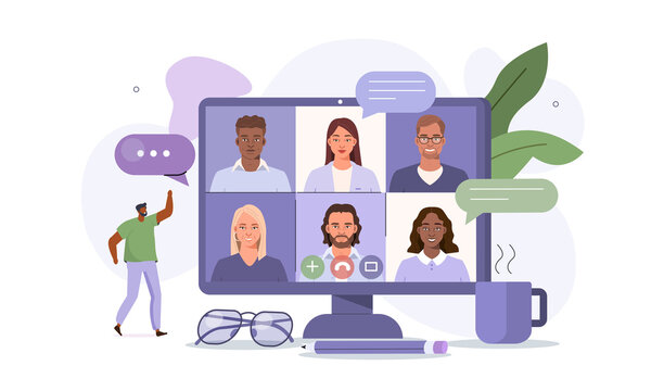 People Character working Remote at Home and using Computer for Video Meeting with Colleagues. Online Discussion and Business Video Conference Concept. Flat Cartoon Vector Illustration.