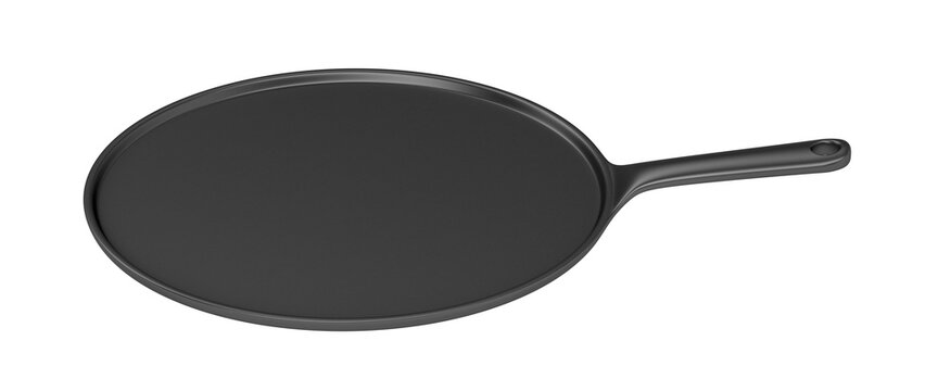 Side view of cast iron pancake pan, isolated on white background