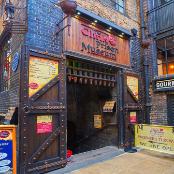 London, UK - May 23 2018: The Clink Prison Museum was a prison which operated from the 12th century until 1780, situated next to the Bishop's London-area residence of Winchester Palace