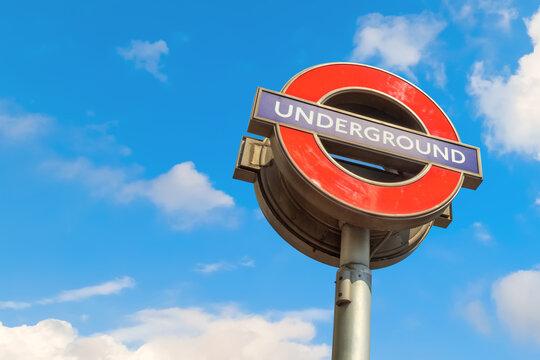 London, UK - May 23 2018: Underground sign of London Bridge station, the nearest underground station to the Shard Building