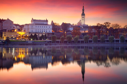 Tabor, Czech Republic. Cityscape image of Tabor, Czech Republic at beautiful autumn sunset.