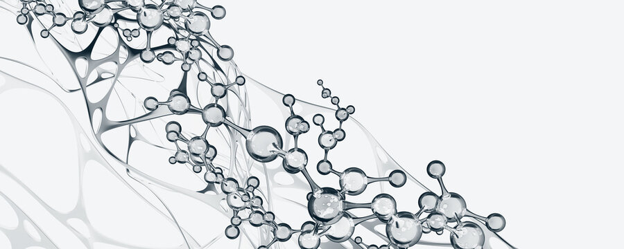 Molecular research. Scientific innovation. Molecule 3D illustration. Abstract molecular lattice, cellular structure. Transparent elements with a glossy effect