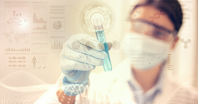 female scientist with mask and laboratory glasses analyzes a test tube on digital background with dna and holographic images - concept of experiment and chemical and microbiological research