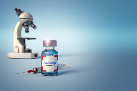 Anti covid-19 vaccine vial, syringe and microscope isolated on blue background with space for text and images.3d illustration for scientific research and vaccination against sars-cov 2.