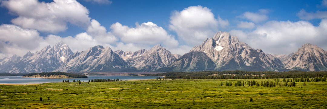 Grand Teton national park, mountain range panorama, Wyoming, USA. Panoramic web banner.