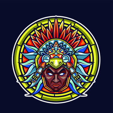 AZTECA WARRIOR VECTOR ILLUSTRATION