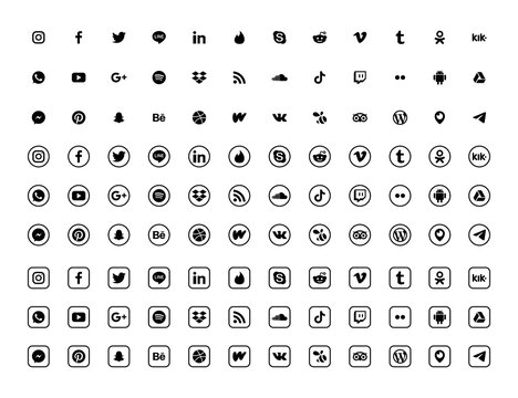 Social media icons set isolated on white background.