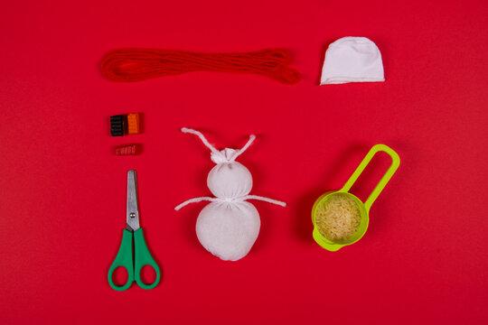 New Year's or Christmas handmade craft - snowman