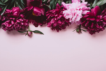 Pastel pink background with beautiful peonies. Soft focus, copy space