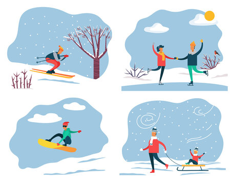 Set of people on winter vacation leading active and sportive lifestyle. Skiing and snowboarding, couple ice skating. Father pulling sleds with son sitting on it. Family weekends in wintertime vector