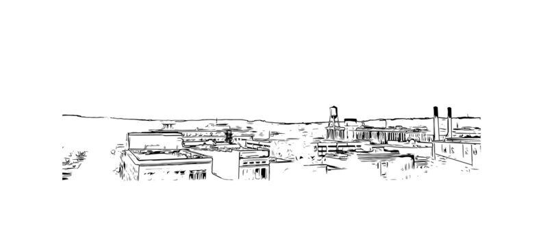 Building view with landmark of Columbus is a city in western Georgia. Hand drawn sketch illustration in vector.
