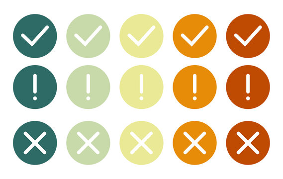 Set of flat round check mark, exclamation point, X mark icons vector.Set of flat round check mark, exclamation point, X mark icons on a white background.Icons of different colors.Vector illustration.