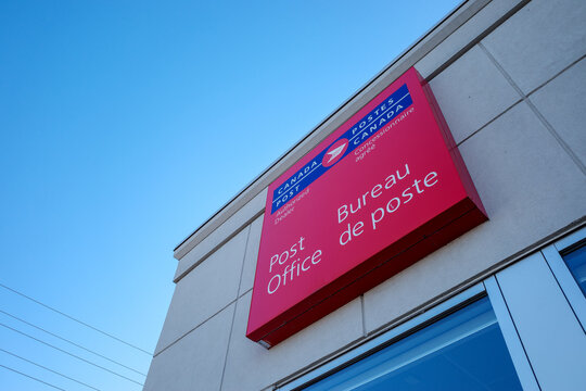 Canada Post office sign in Ottawa, Ontario, Canada on November 5, 2020.