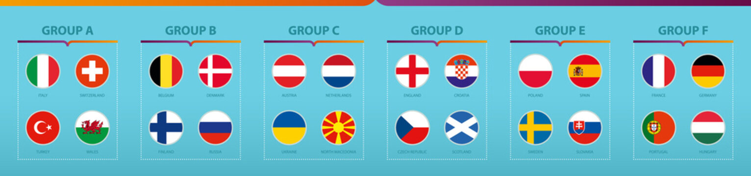 Football tournament flags sorted by group.