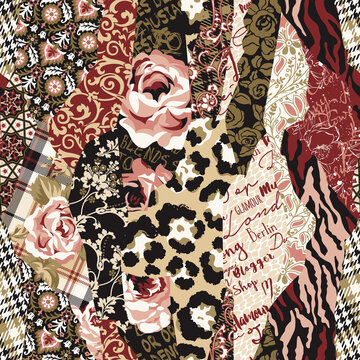 Roses tartan written arabesque wild animal skin fabric patchwork vector seamless pattern