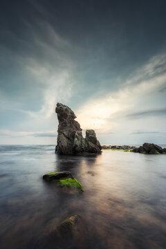Long exposure seascape with sea rocks at the Black Sea coast, Bulgaria