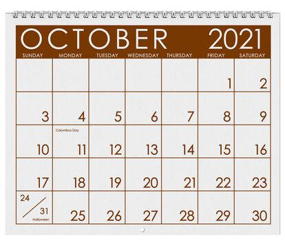2021: Calendar: Month Of October