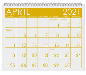 2021: Calendar: Month Of Easter