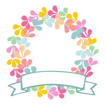 Pastel laurel wreath vector decorative frame isolated on white background