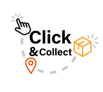 Click and collect icon. Clipart image isolated on white background.