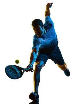 one caucasian mature man Paddle Padel tennis player shadow silhouette in studio isolated on white background