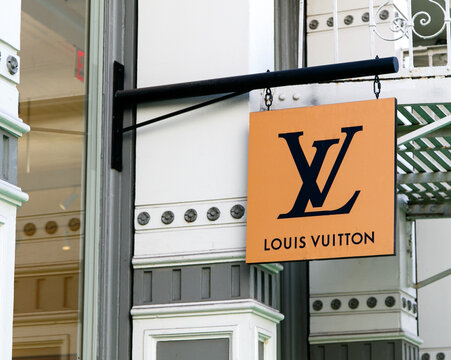 Louis Vuitton banner above their store in SoHo.