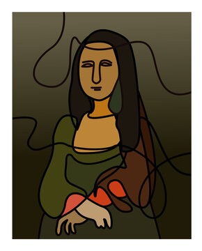Best vectorArt Monalisa. lineart colour full, It's a wonderful, amazing thing.