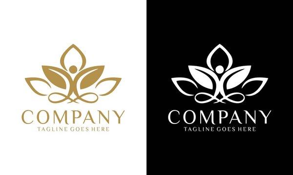 Abstract yoga human logo. Thread person flower balance logotype. Creative spa, guru vector mark.