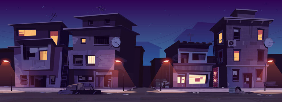 Ghetto street at night, slum ruined abandoned old buildings with glowing windows. Dilapidated dwellings stand on roadside with street lamps, car body and scatter litter cartoon vector illustration
