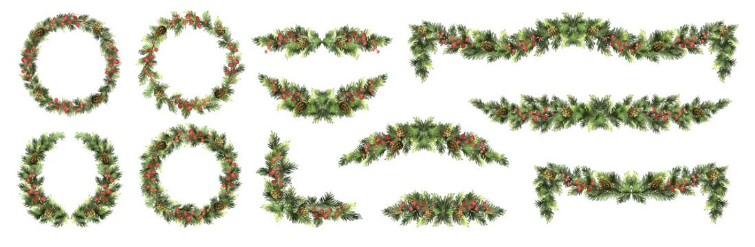 Big set of Christmas fir garlands with red berries and cones. Vector illustration.