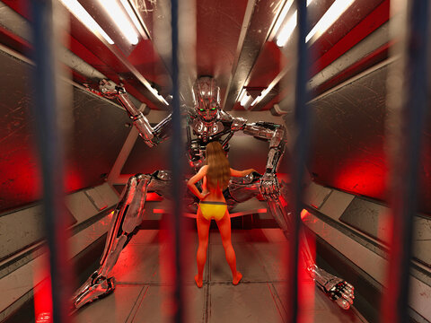 3D Photo of a Young Woman Visiting a Giant Robot in Prison