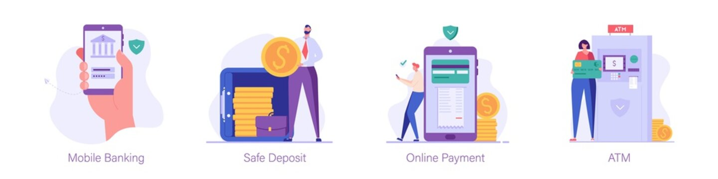 Handholding phone, logs into the mobile bank, man keeps coins in safe, guy pays bills online, woman uses an ATM. Set of mobile banking, safe deposit, online payment, ATM. Vector illustration in flat