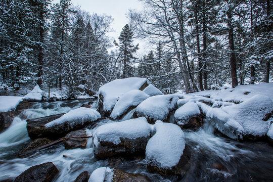 Winter river in Capcir, Cerdagne, Pyrenees, France