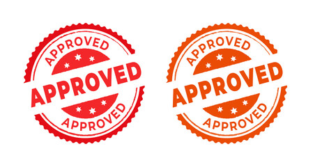 Fototapeta Approved stamp with the word approved. Approved stamp in rubber style, red round approved sign