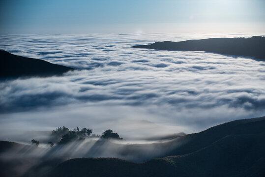 Fog Envelops the Santa Monica Mountains in Malibu California