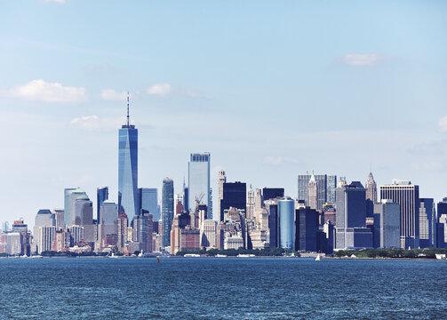 Retro toned picture of New York City Skyline, USA.