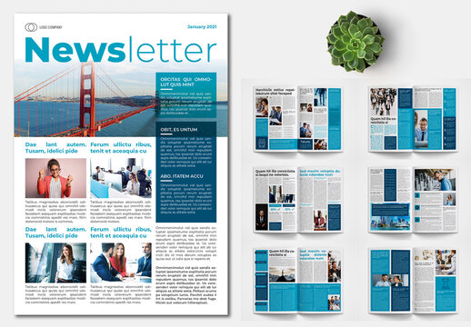 Newsletter Layout with Blue Accents
