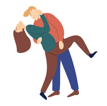 Homosexual lesbian couple hug. Butch femme lesbian hold in arms her partner. Cute flat vector illustration isolated on white