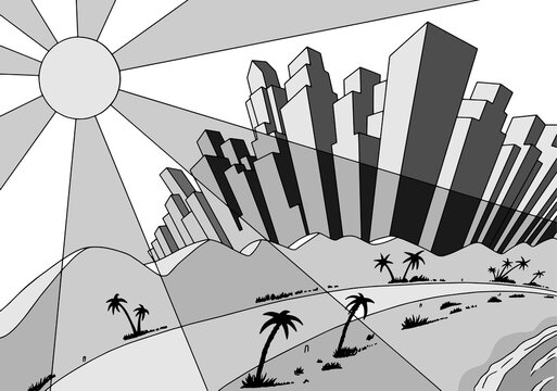 Drawing of lined up buildings on a coastal metropolis with beach and sun, in film noir atmosphere and art Deco style. Vector illustration.