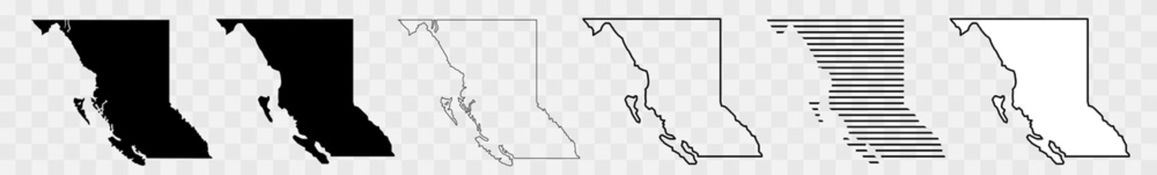 British Columbia Map Black | Province Border | Canada State | Canadian | America | Transparent Isolated | Variations