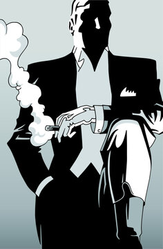 Drawing of fancy man smoking cigar in formal wear from the twenties, in film noir atmosphere and art Deco style. Vector illustration.