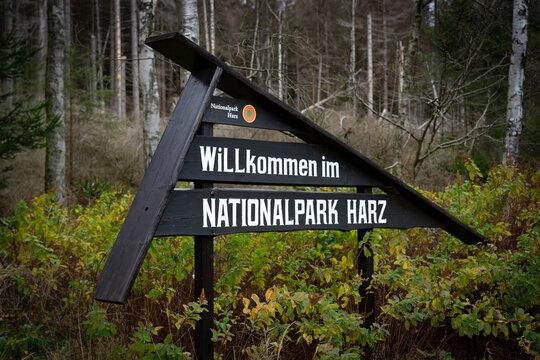 Willkommen im Nationalpark Harz / Schild
