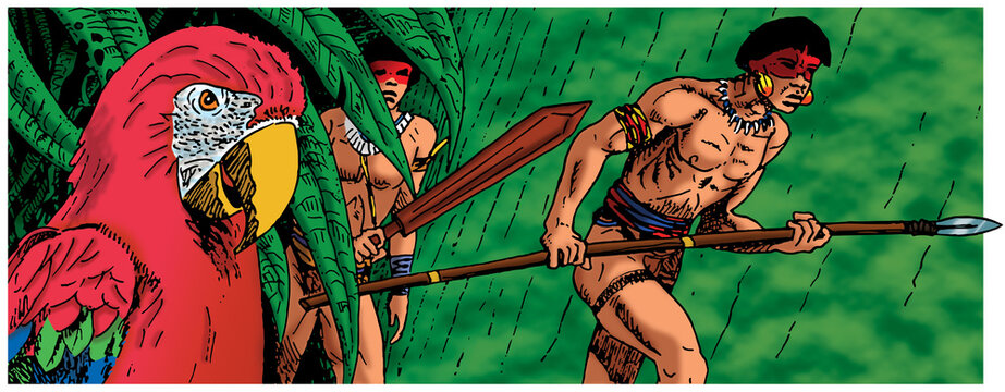 Illustration of Brazilian indigenous men walking through the rainforest and colorful parrot, in comics style. Hand drawn and digital colorization.