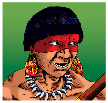 Brazilian indigenous man looking to the side with face paintings and accessories, in comics style. Hand drawn and digital colorization.