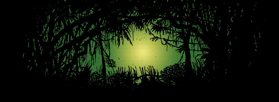 Silhouette of bushes and branches from a thick rainforest with a path in the center, in comics style. Hand drawn and digital colorization.