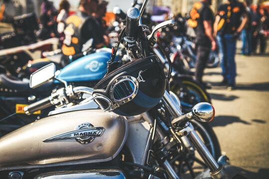 Nice Harley Davidson bike on Crazy Hohols Bikers club open season Kiev Ukraine 21 april 2018
