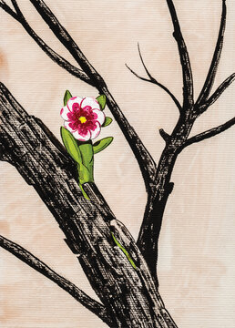 Illustration of a colorful tiny flower growing up from a charred branch. Watercolor and ink drawing.