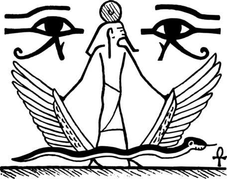 Drawing of hieroglyphic symbols and pharaoh in ancient Egypt style with white background. Hand drawn and digital retouch.