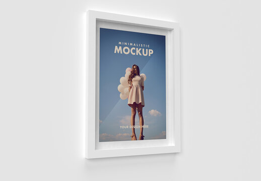 Modern White Minimalistic Frame Side View Mockup